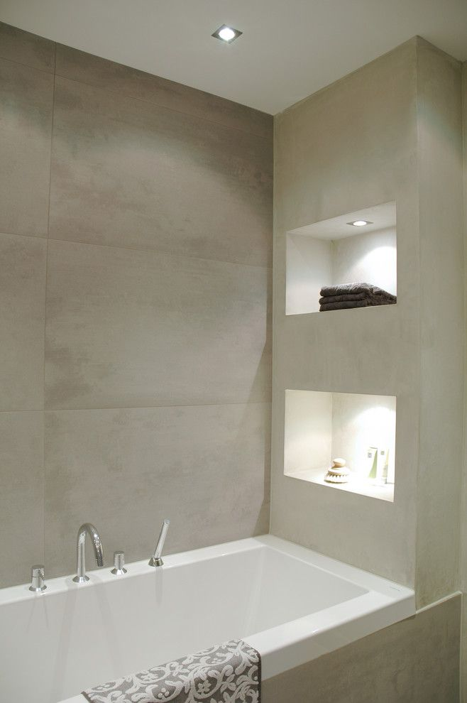 Mosa Tile for a Modern Bathroom with a Cove Lighting and Bathroom by April and May