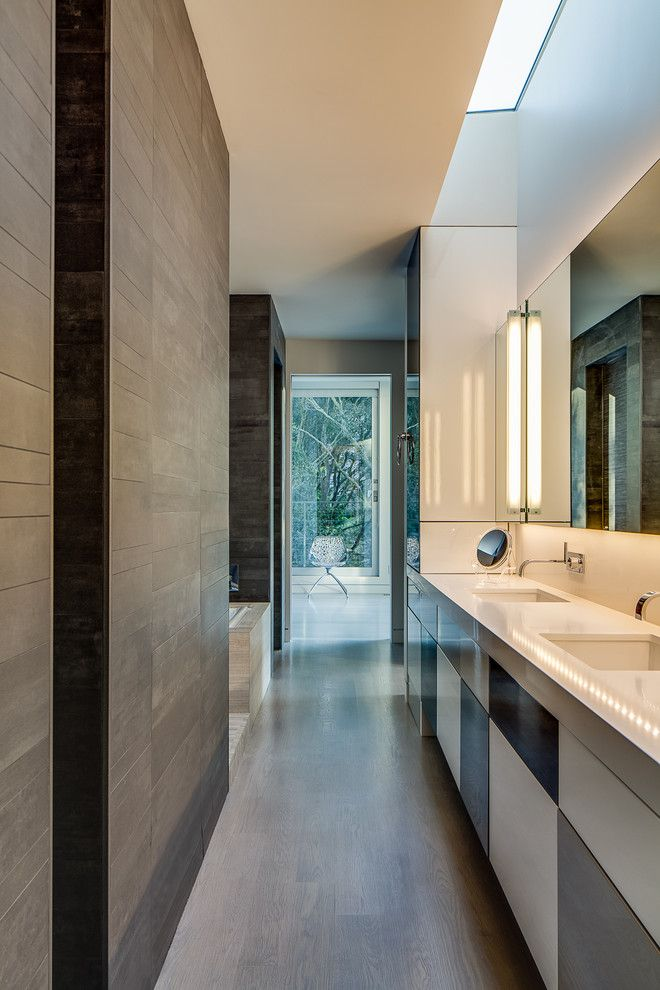 Mosa Tile for a Modern Bathroom with a White Countertop and Modern is Modern Again in Portola Valley by Mark Brand Architecture
