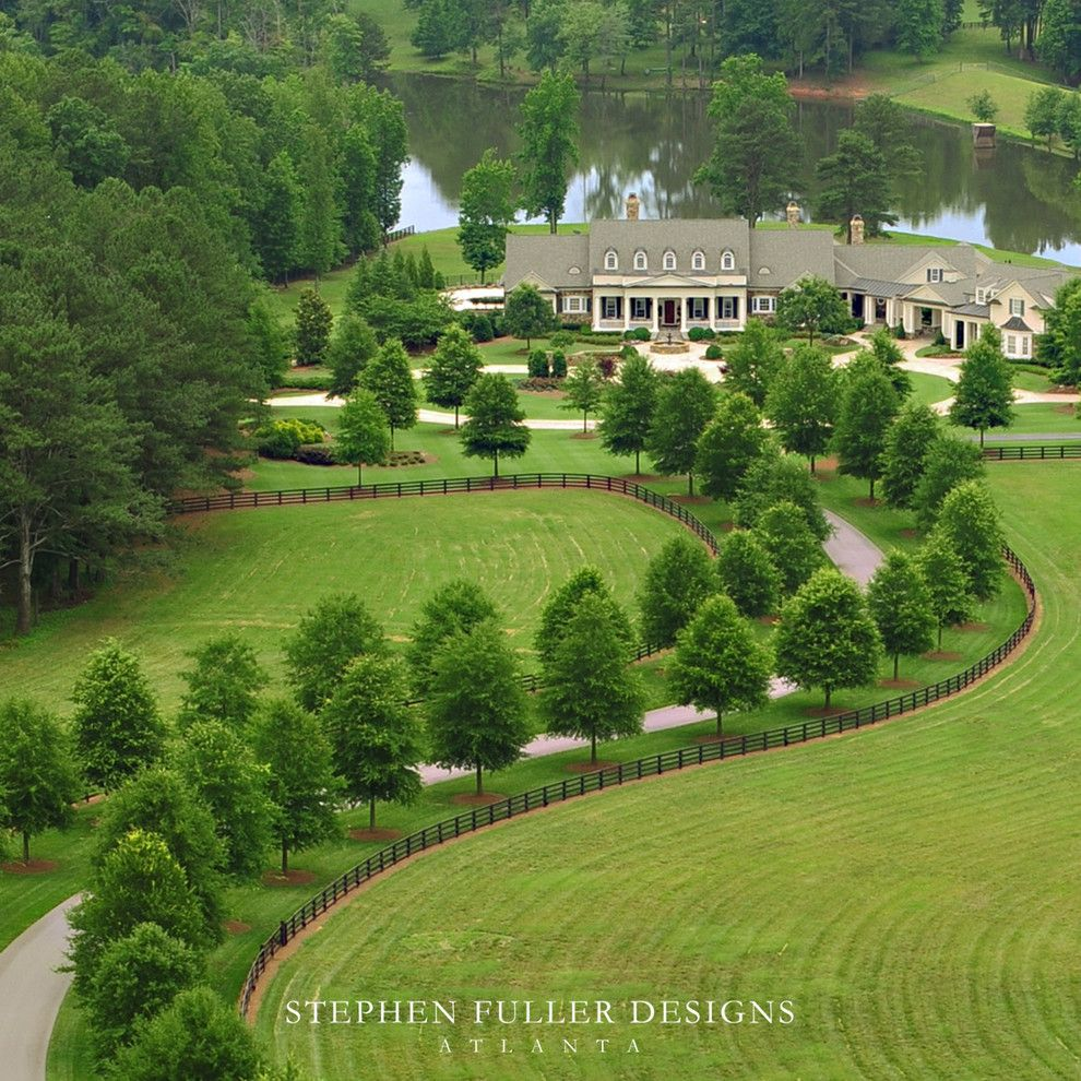 Mossy Oak Fence for a Traditional Landscape with a Traditional and Aerial View by Stephen Fuller Designs