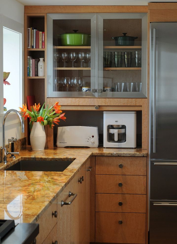 Mountain High Appliance for a Contemporary Kitchen with a Open Shelves and Carriage House by Barbra Bright Design