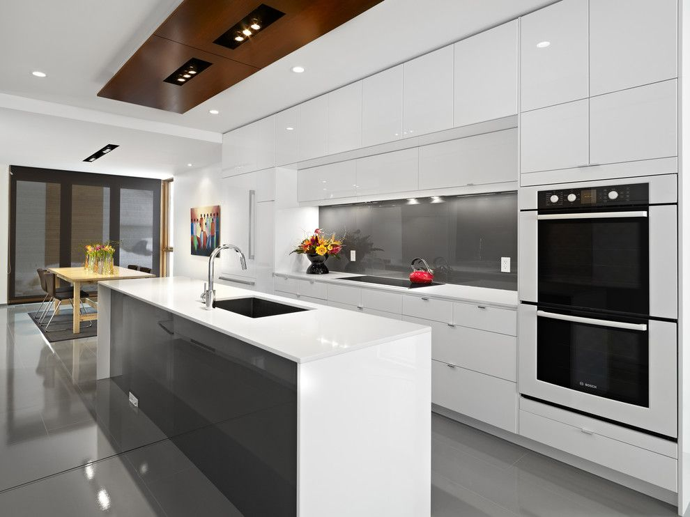 Mountain High Appliance for a Contemporary Kitchen with a Waterfall Counters and Lg House   Kitchen by Thirdstone Inc. [^]