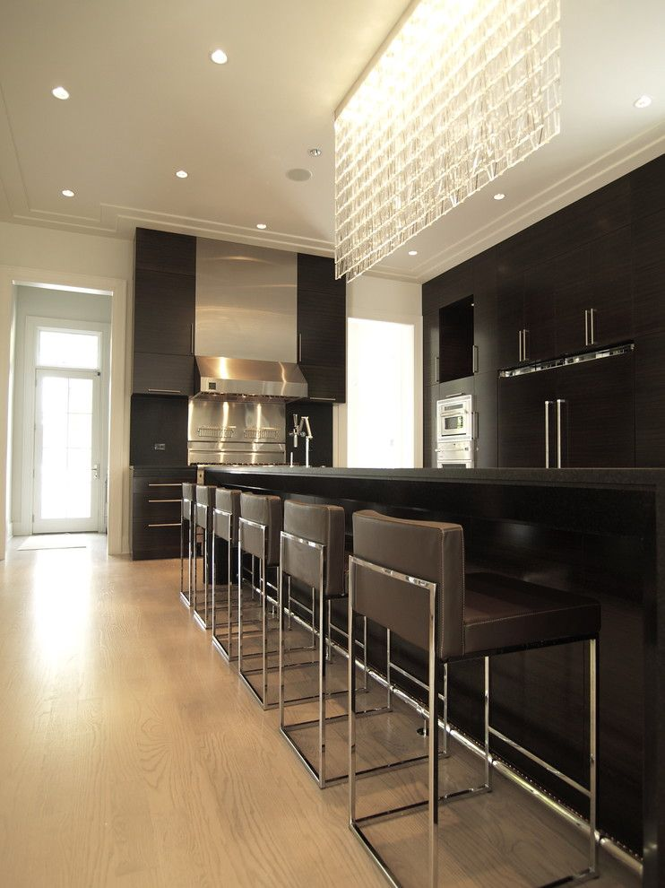 Mr Bar Stool for a Contemporary Kitchen with a Crown Molding and Morningside House by Joel Kelly Design