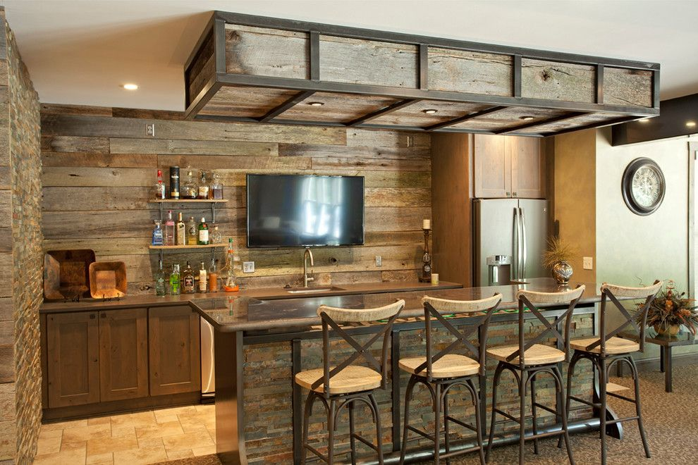 Mr Bar Stool for a Rustic Home Bar with a Barn Wood and Driftwood Basement by the Cabinet Store