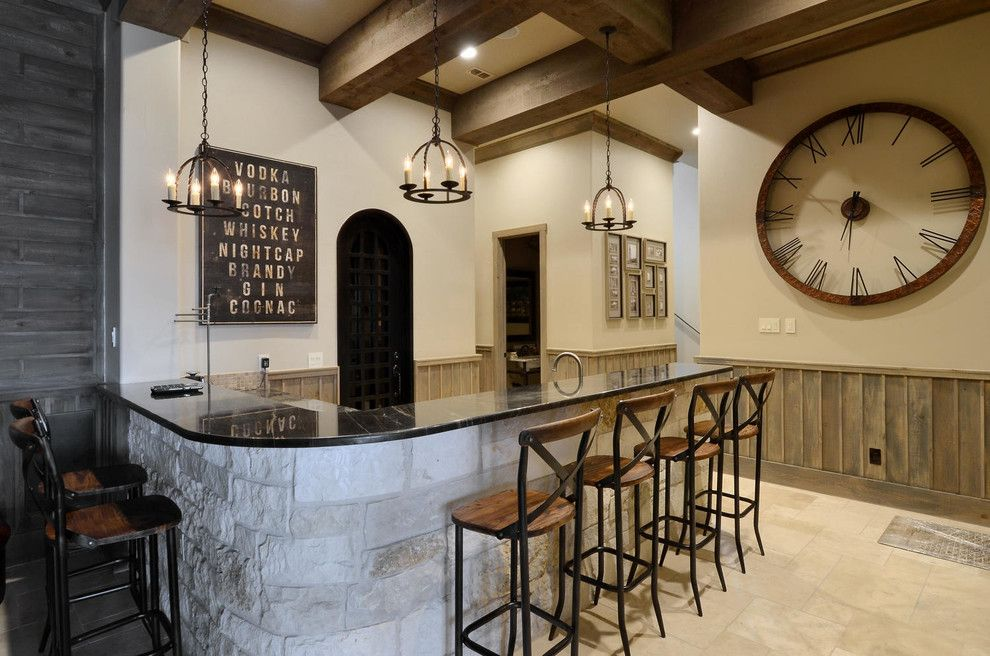 Mr Bar Stool for a Rustic Home Bar with a Wood Beams in Wet Bar and Bar Lighting by Legend Lighting