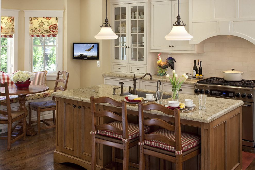 Msi Granite for a Traditional Kitchen with a Range Hood and House in Sonoma by Julie Williams Design