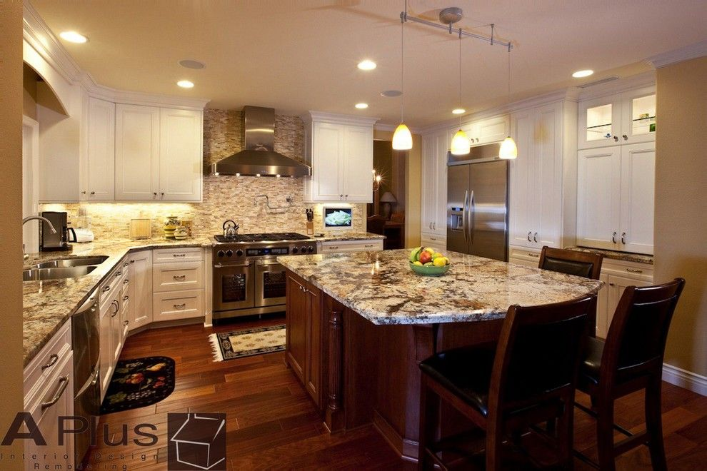 Msi Granite for a Traditional Kitchen with a White Cabinets and Hartshorn Kitchen Remodeling by Aplus Interior Design & Remodeling