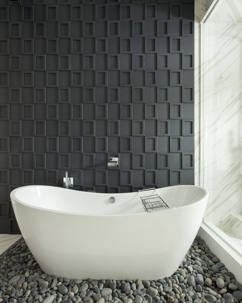 Msi Stone for a Contemporary Bathroom with a Square Tile and San Clemente Master Bath Remodel by Susan Thiel Design
