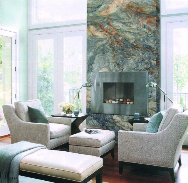 Msi Stone for a Contemporary Living Room with a Exotic Stone and Fusion Quartzite Stone Fireplace by Santo Stones