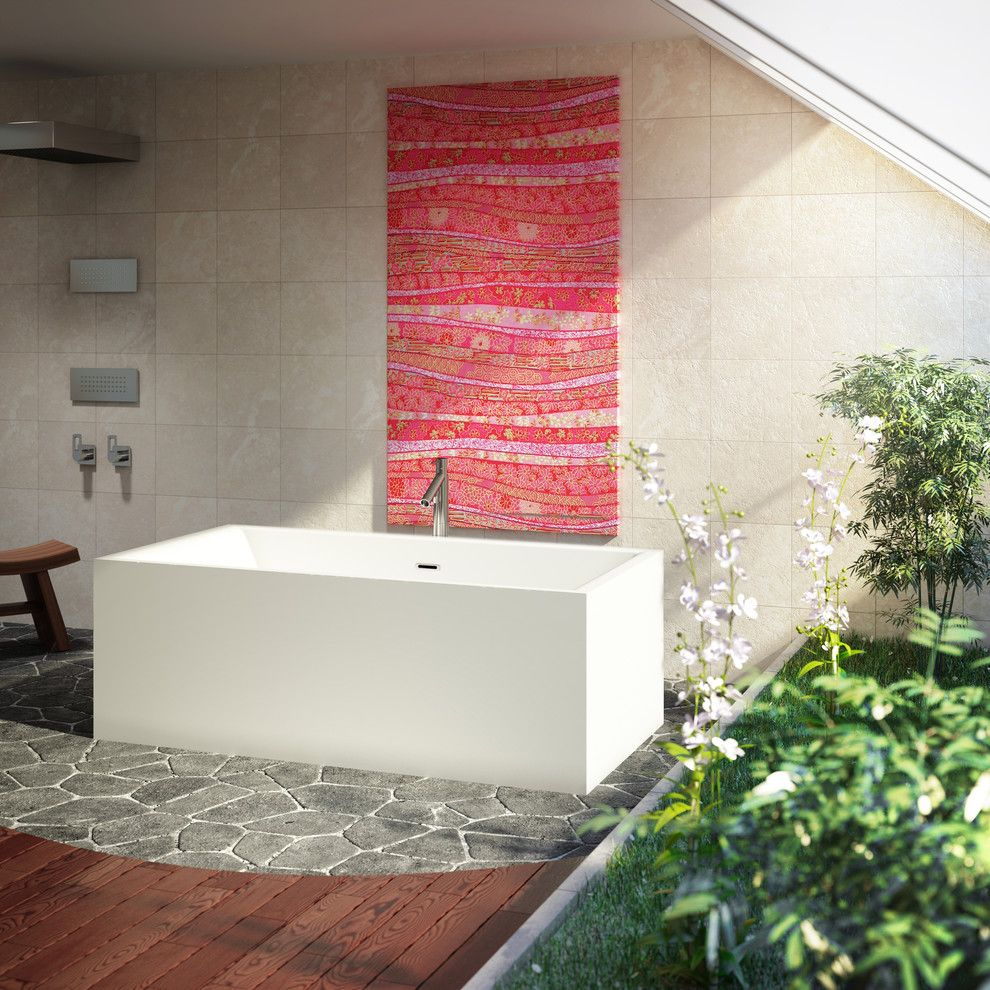 Msi Stone for a Modern Bathroom with a Beige Wall Tile and Bain Ultra by Bainultra