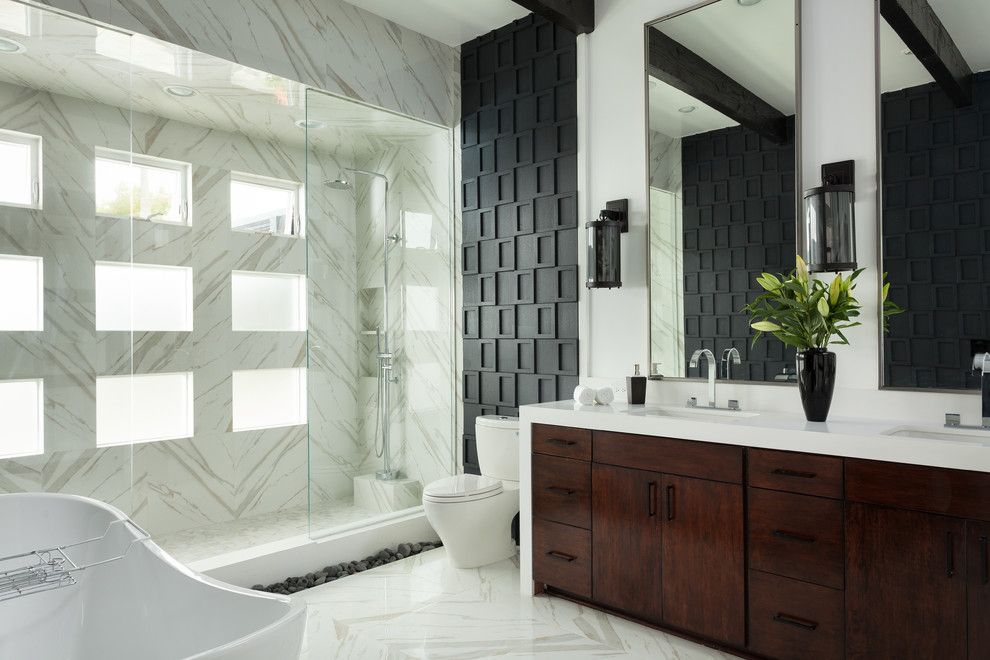 Msi Tile for a Contemporary Bathroom with a Floor Mounted Shower Fixture and San Clemente Master Bath Remodel by Susan Thiel Design