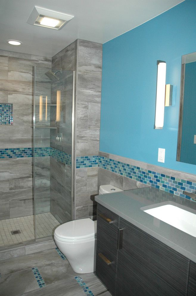 Msi Tile for a Contemporary Bathroom with a Iridescent Tile and Master Bath Blue Glass Mosaic Accent Tile by Kitchen Masters, Inc.