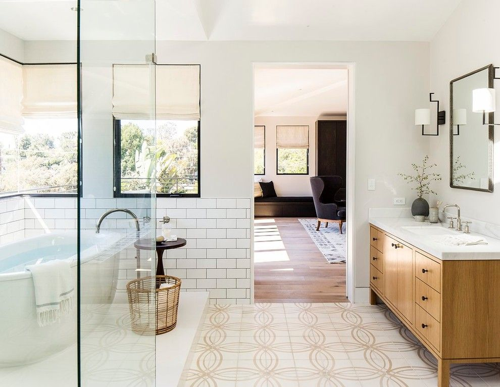 Muji Us for a Contemporary Bathroom with a Black Grout and Manhattan Beach House by Disc Interiors