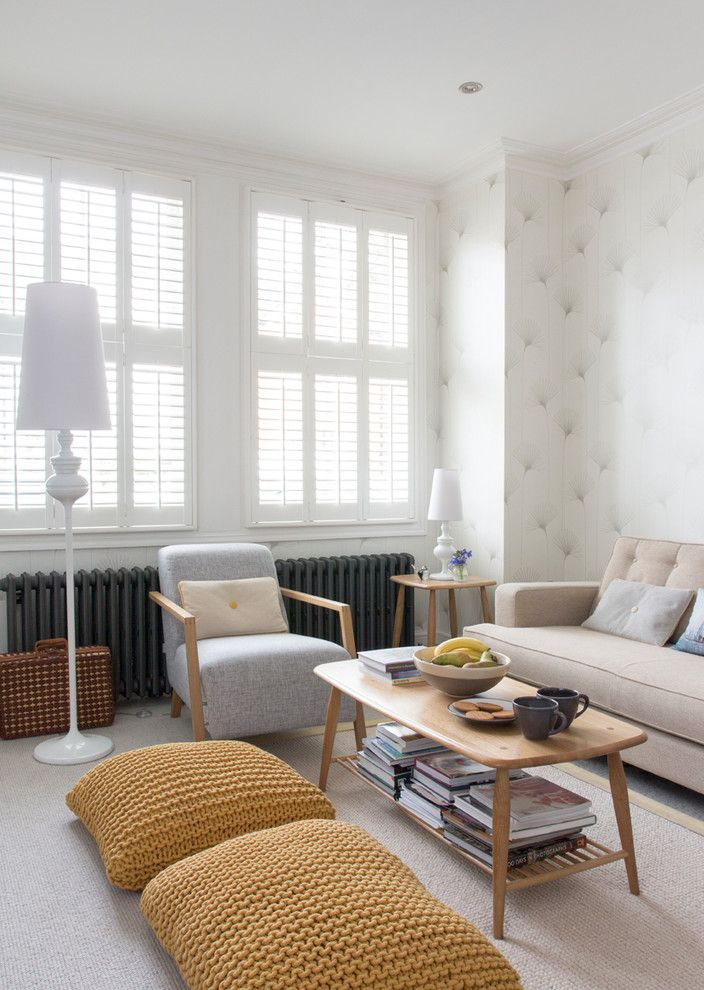 Muji Us for a Contemporary Living Room with a Ercol and Edwardian House, South West London by Rebecca Hayes Interiors