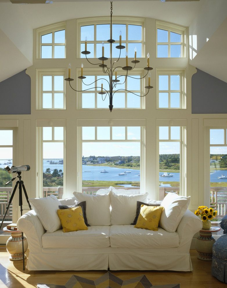 Mullioned Windows for a Beach Style Living Room with a White Window Trim and Sand Dollars by Polhemus Savery Dasilva