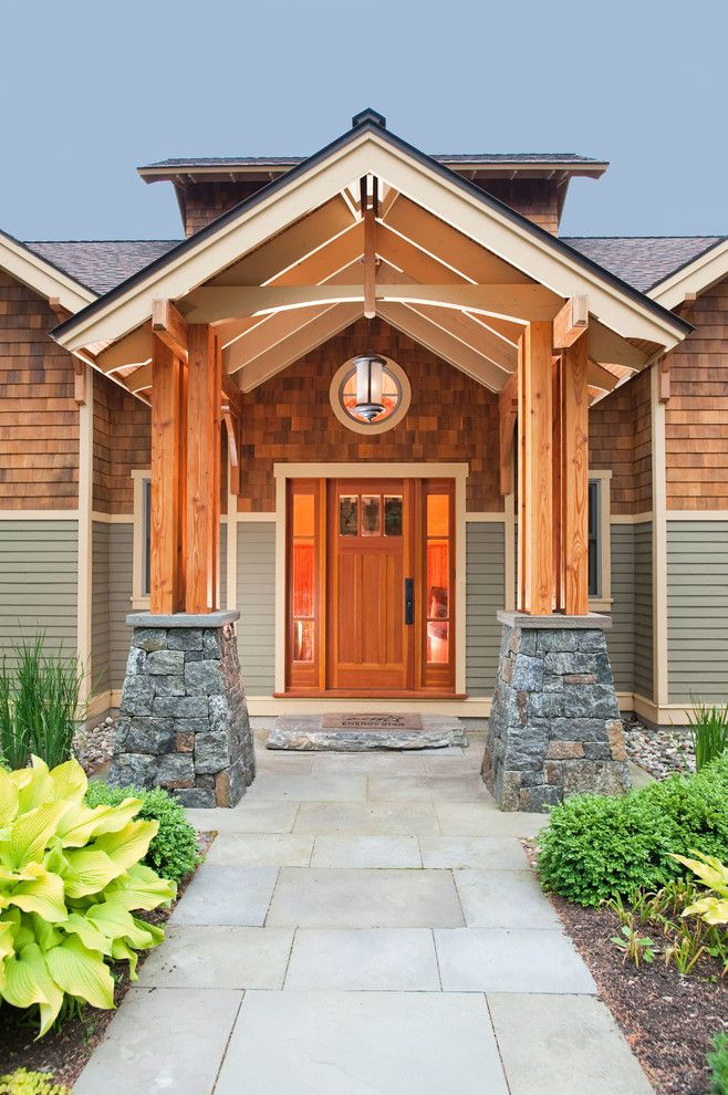 Mullioned Windows for a Craftsman Entry with a Wood Door and Kendrick: 2006 Saratoga Showcase of Homes by Phinney Design Group