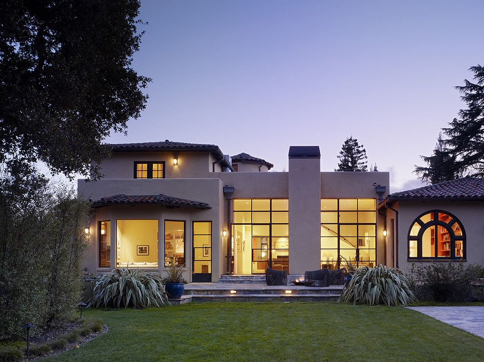Mullioned Windows for a Mediterranean Exterior with a Outdoor Lighting and Menlo Park Residence by Moroso Construction