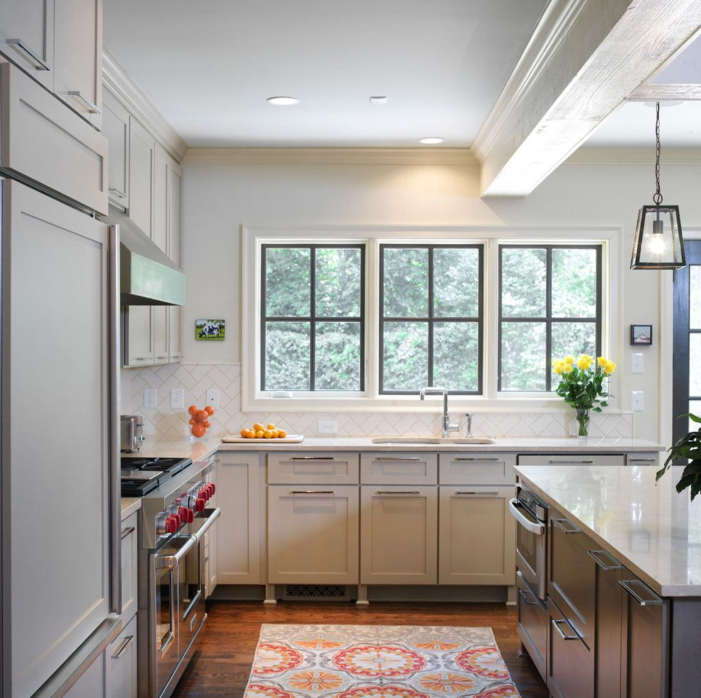 Mullioned Windows for a Transitional Kitchen with a Beige Cabinets and Ranch Remodel Kitchen by Clark & Zook Architects, Llc