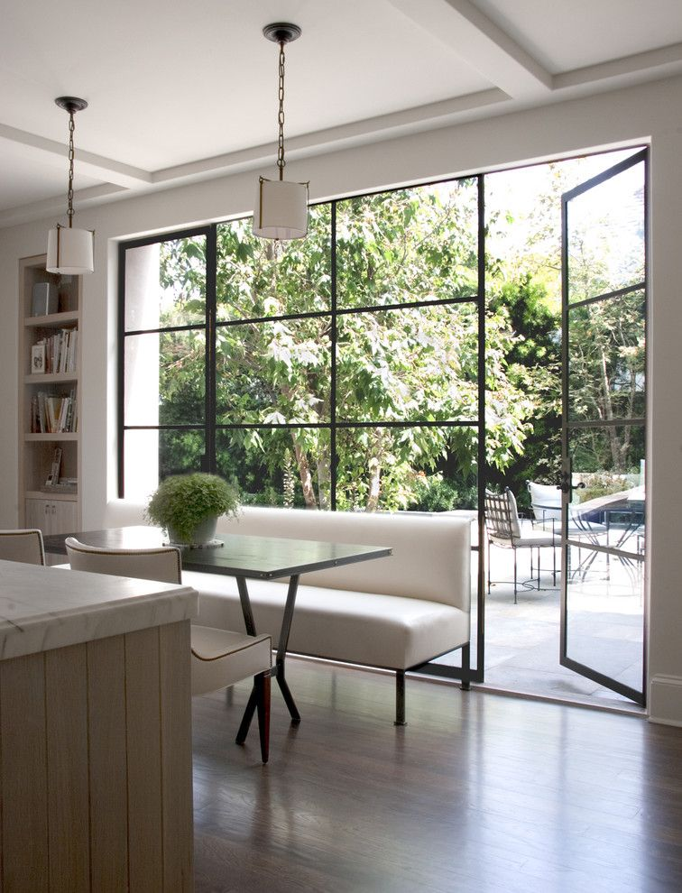 Mullioned Windows for a Transitional Kitchen with a Ceiling Treatment and William Hefner Architecture Interiors & Landscape by Studio William Hefner