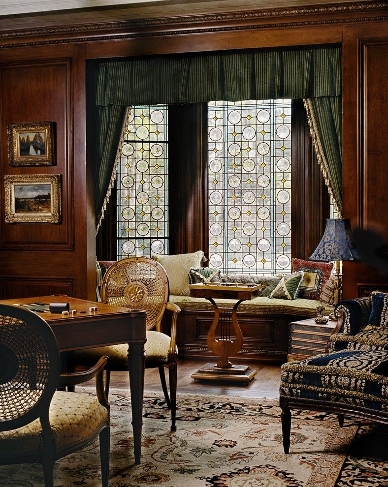 Mullioned Windows for a Victorian Family Room with a Upholstery and Fan by Just Joh