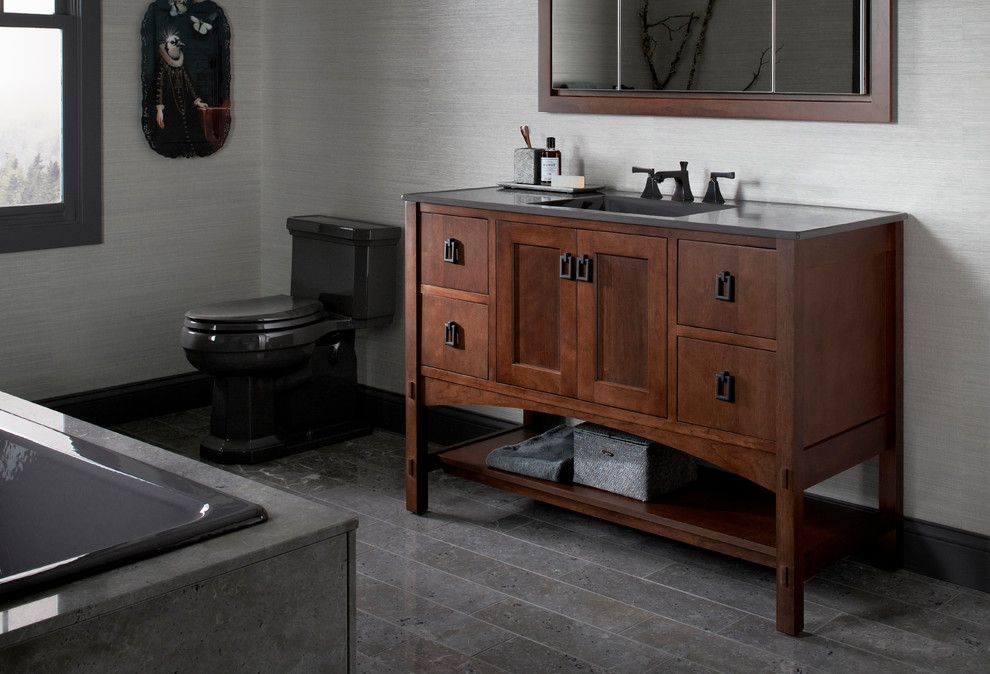 Mundo Tile for a Contemporary Bathroom with a Vanity and Kohler Bathroom Vanities by Capitol District Supply
