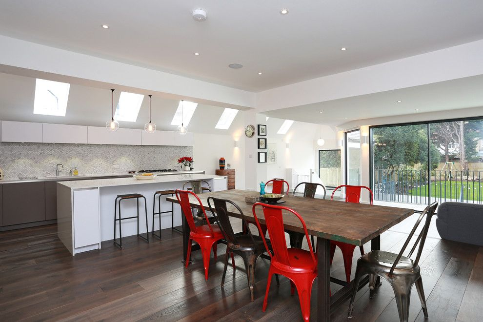 Mundo Tile for a Contemporary Dining Room with a Kitchen Skylights and Open Plan Kitchen Extension by Lwk Kitchens London