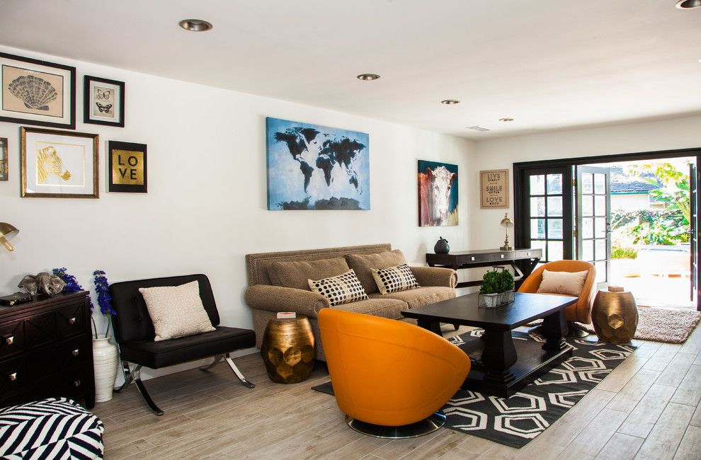 Mundo Tile for a Contemporary Living Room with a Orange Armchair and Katherine Residence by Dan Arnold Photo