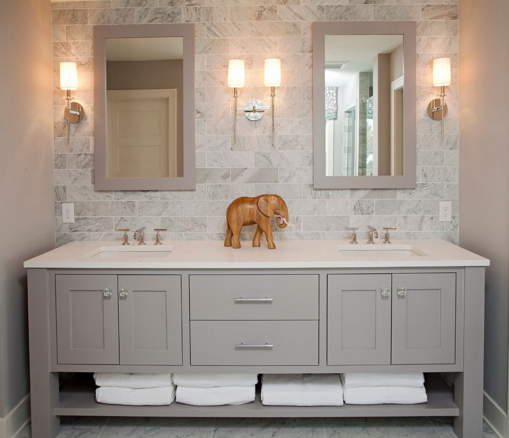 Muska Lighting for a Beach Style Bathroom with a White Trim and Coastal Casual by Refined Llc