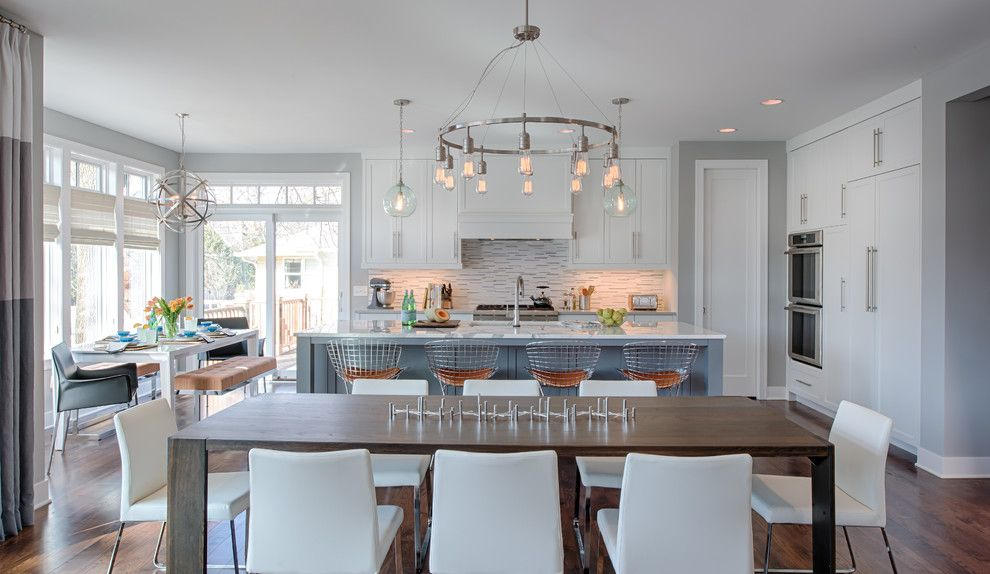 Muska Lighting for a Transitional Dining Room with a Dining Chairs and Eclectic Modern by Refined Llc