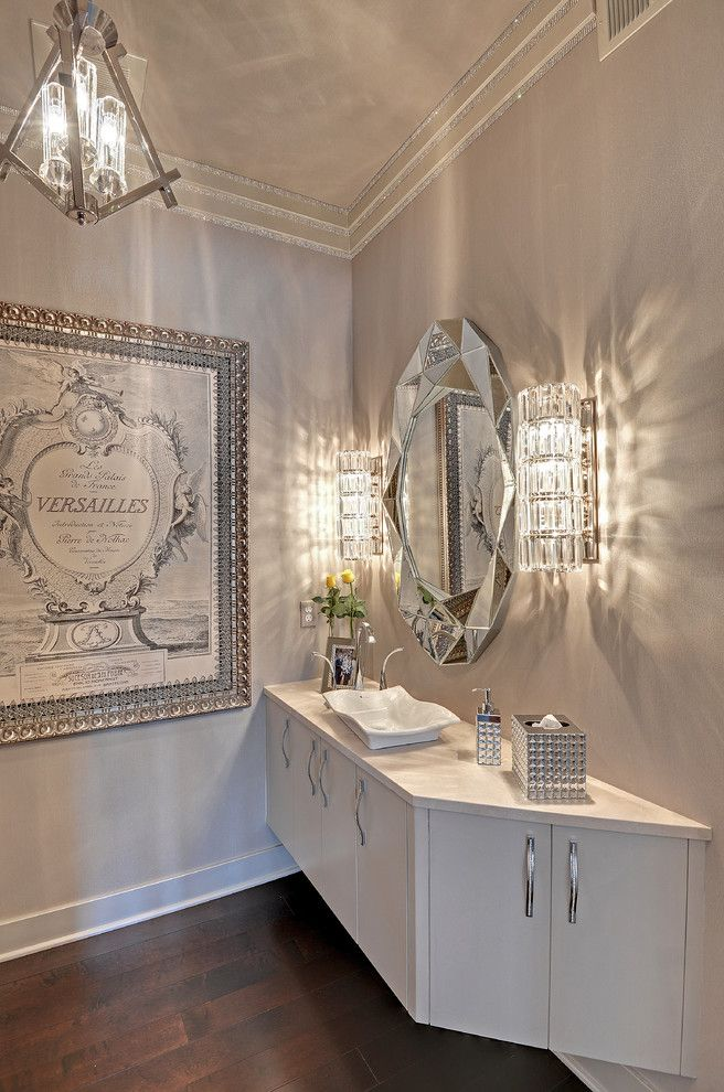 Muska Lighting for a Transitional Powder Room with a Sconce and Oak Ridge Place by Romens