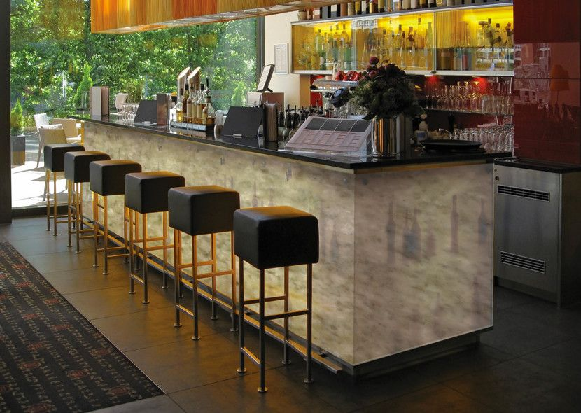 Mystic Granite for a Modern Home Bar with a Iceberg and Exotic Stone Installs by Mystic Granite & Marble