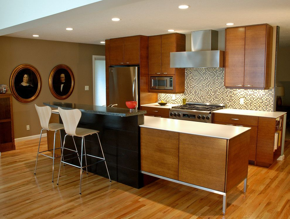 Nadeau Furniture for a Modern Kitchen with a Addition and 50's Re Do by William Roy Designer Kitchens