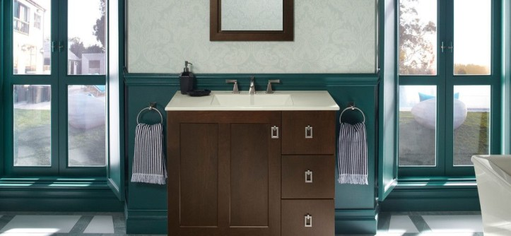 Nadeau Furniture for a Traditional Bathroom with a Green and Kohler Bathroom Vanities by Capitol District Supply