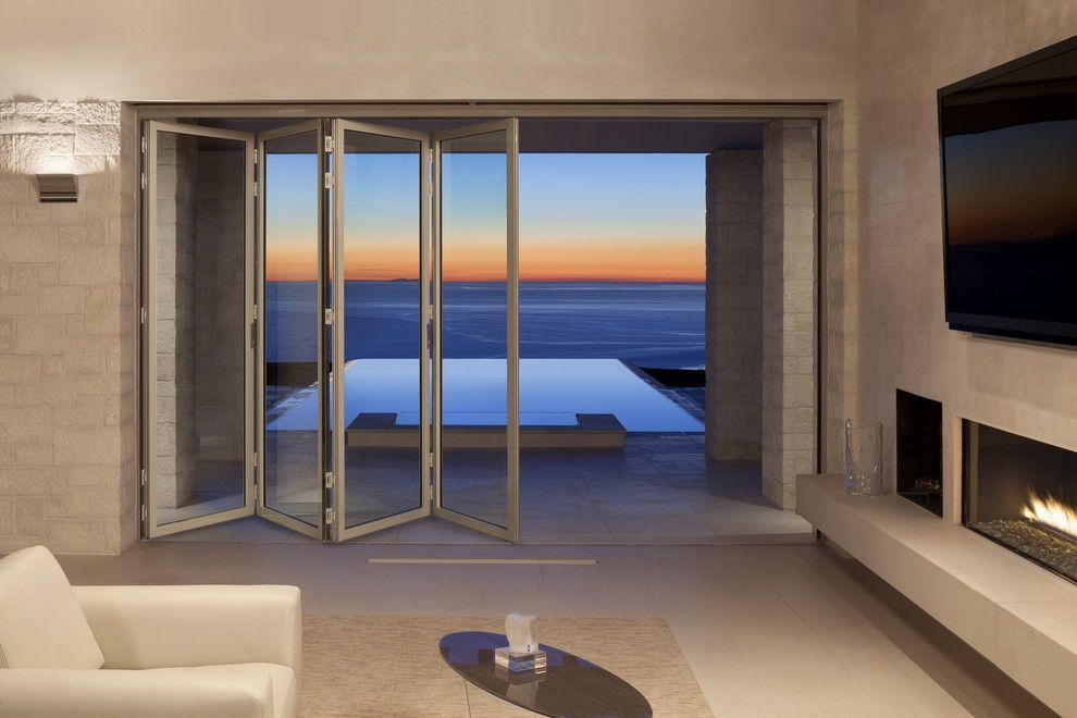 Nanawall Cost for a Contemporary Home Theater with a Accordion Doors and Rolling Hills Residence by Nanawall