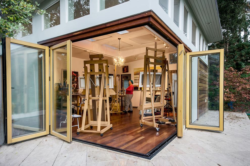 Nanawall Cost for a Modern Exterior with a Wood Soffit and San Francisco Bay Area Artist Studio by Bill Fry Construction   Wm. H. Fry Const. Co.