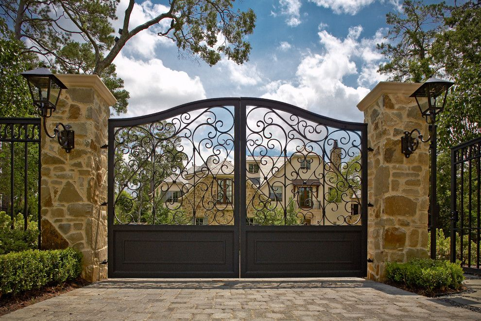 Natec for a Mediterranean Landscape with a Brick Driveway and Exterior by Allan Edwards Builder Inc
