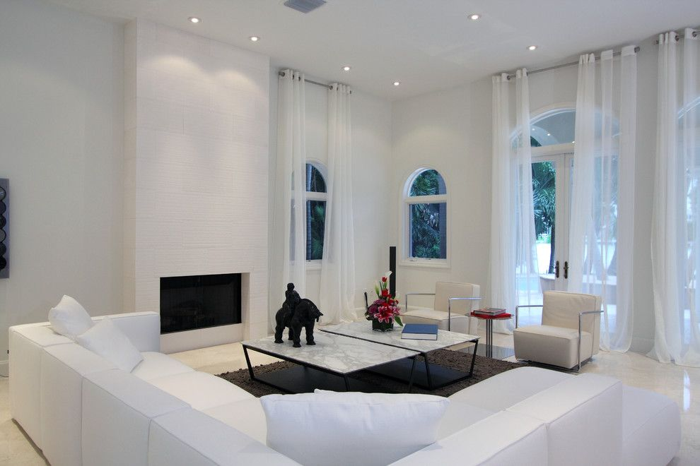Navajo White Paint for a Contemporary Living Room with a Marble Coffee Table and Modern by Claudia Lujan