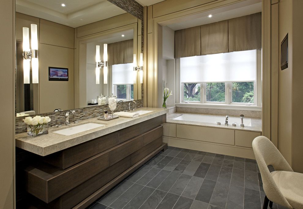 Nemo Tile for a Contemporary Bathroom with a Double Vanity and Bathroom by Douglas Design Studio