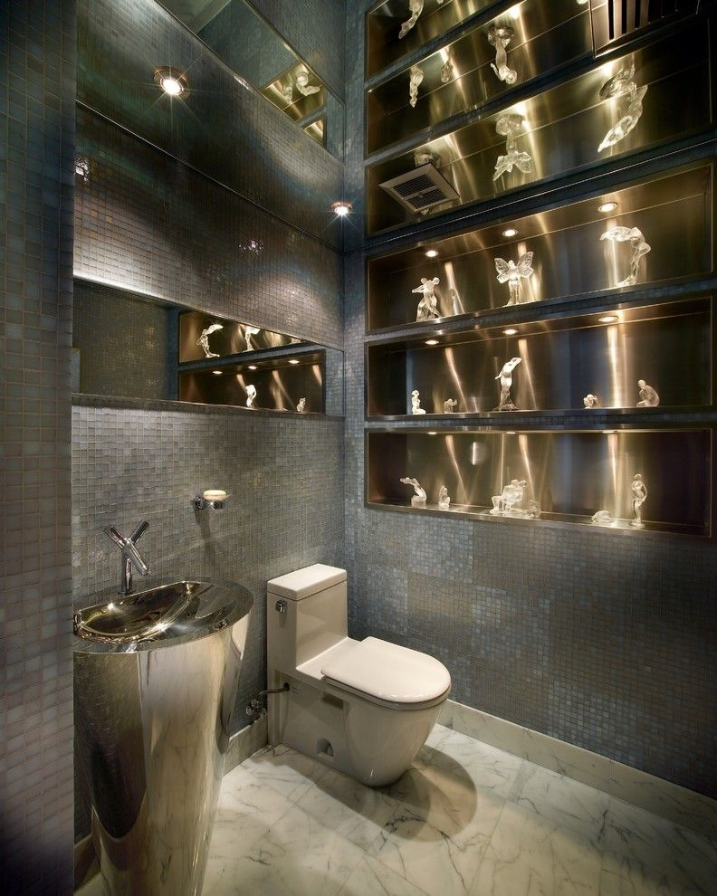 Nemo Tile for a Contemporary Powder Room with a Aventura and New York - Miami - Modern Interior Designer - Pepe Calderin Design by Pepe Calderin Design- Modern Interior Design