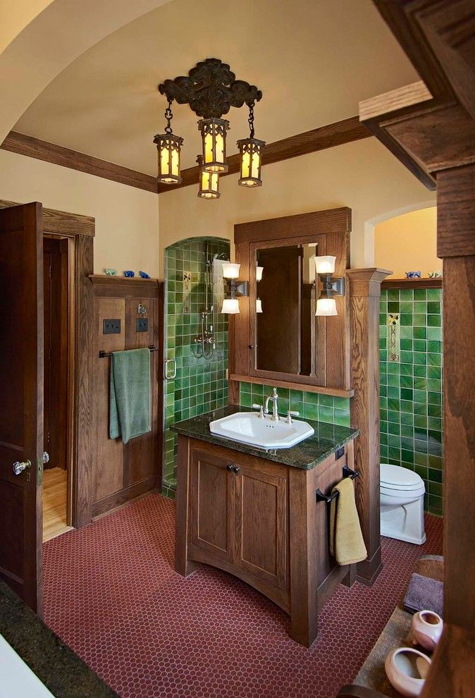 Nemo Tile for a Craftsman Bathroom with a Arts and Crafts and Kirkman Master Bath by Joseph Metzler / Sala Architects