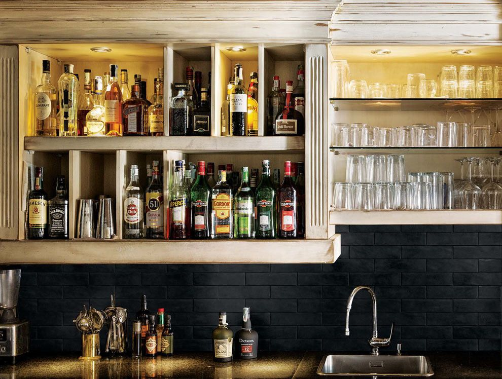Nemo Tile for a Traditional Wine Cellar with a Bar Backsplash and Industry   Porcelain Tile by Nemo Tile by Nemo Tile Company Incorporated