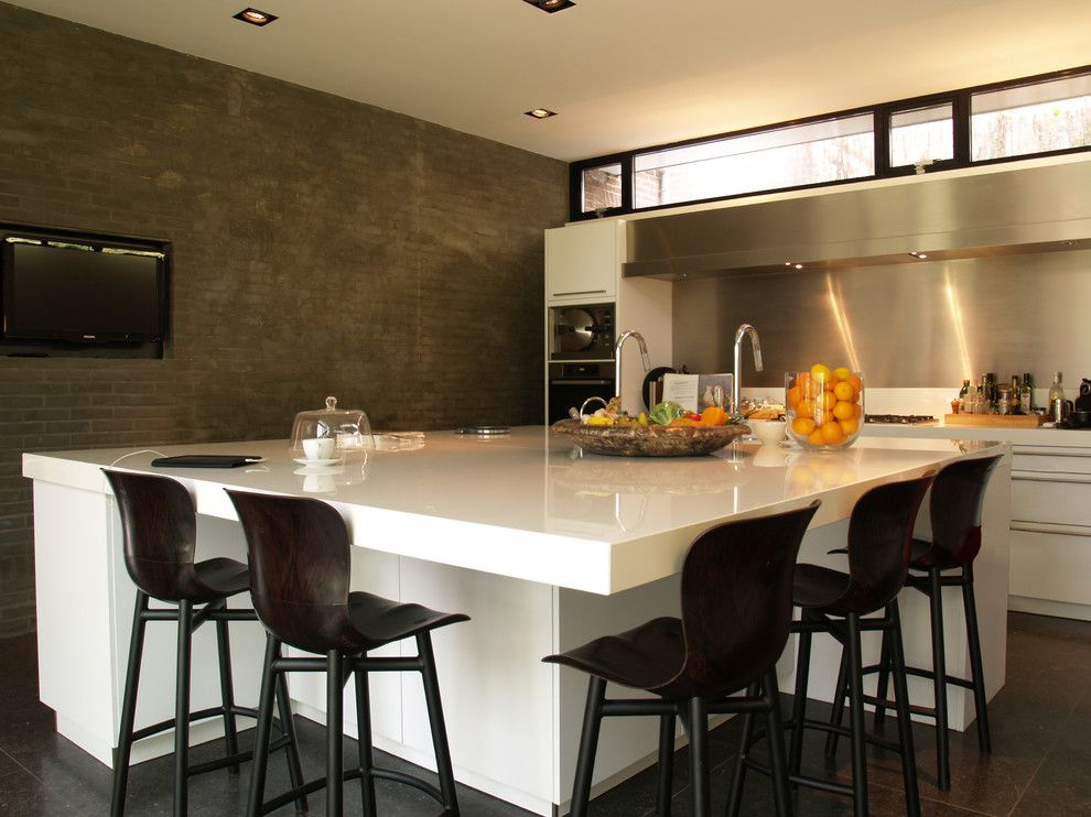 Neolith Countertops for a Contemporary Kitchen with a Sink in Island and Monument Hides Cool Design by In3interieur