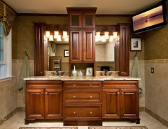 New Caledonia Granite for a Traditional Bathroom with a Custom Vanity Ceramic Wall and Master Bath Renovation by KITCHEN and BATH WORLD, INC