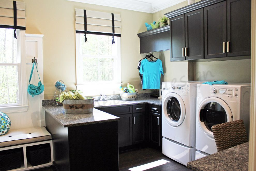 New Caledonia Granite For A Traditional Laundry Room With A Black And White  Roman Shades And Laundry By E3 Cabinets U0026 Design