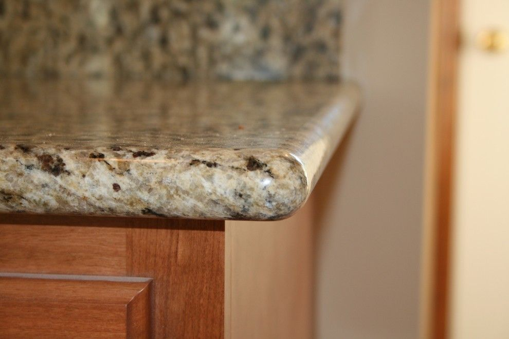 New Venetian Gold Granite for a Traditional Kitchen with a Bullnose Edge and Wood Kitchen by Prime Innovations Llc