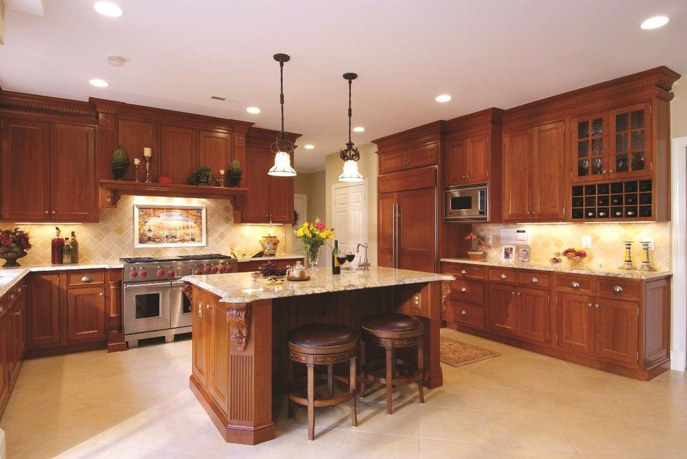 New Venetian Gold Granite for a Traditional Kitchen with a Recessed Lighting and Snell Kitchen 1 by Cameo Kitchens, Inc.