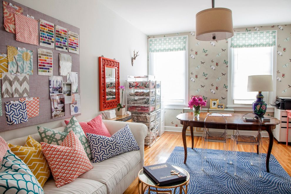 Newjersey.craigslist.org for a Eclectic Home Office with a Interior Wallpaper and Philadelphia Penthouse by Caitlin Wilson Design