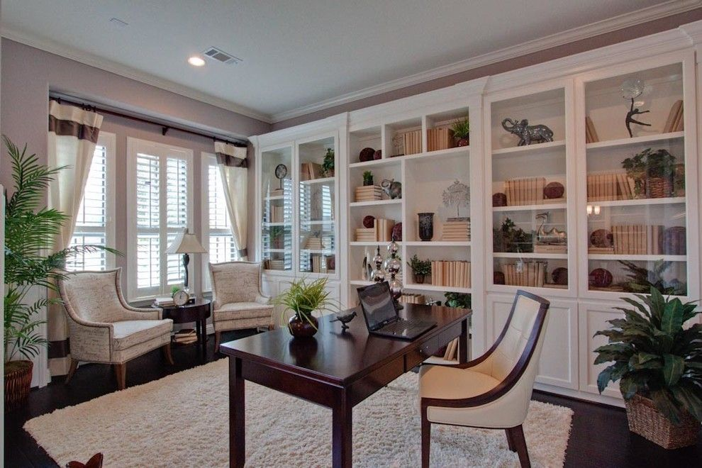 Newmark Homes for a Traditional Home Office with a Shelving and Newmark Homes   Barcelona Plan by Newmark Homes