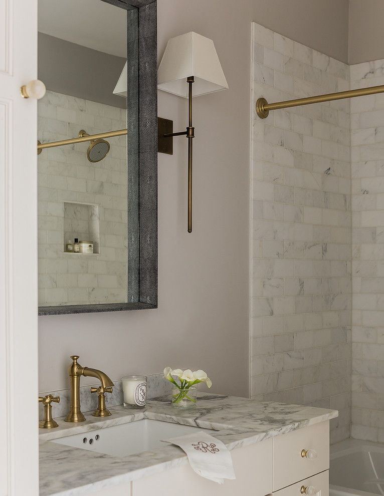 Newport Brass for a Transitional Bathroom with a Brass Kitchen Hardware and Cambridge, Ma by Lovejoy Designs