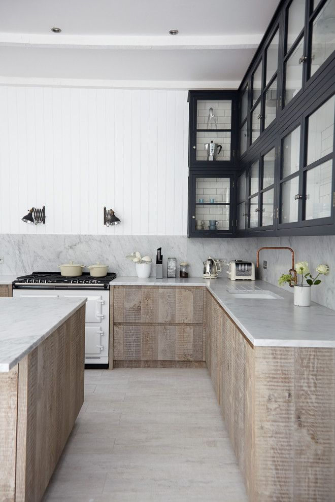 Nhic for a Scandinavian Kitchen with a Timber Boards and Industrial Chic by Blakes London