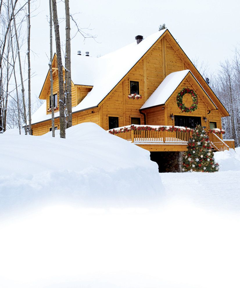Niblock Homes for a Rustic Exterior with a Merry Christmas and Timber Block Log Home Photos by Timber Block Homes
